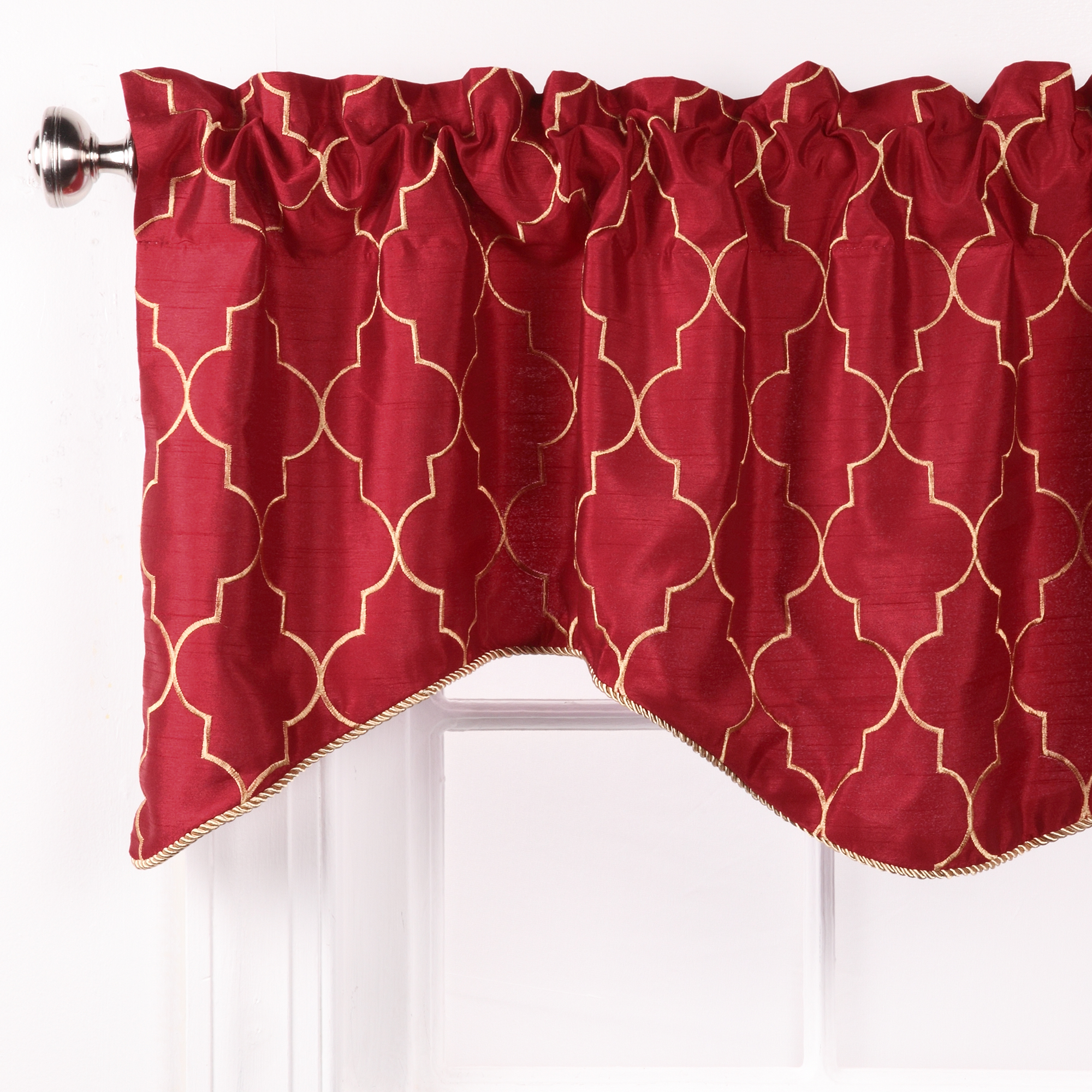 treatment an ball valance valances the in fabric these a and pin contrasting swag kingston for custom lined coordinating top fringe trimmed are pole mounted over