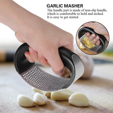 Garlic Press, Stainless Steel Crusher with Garlic – Professional Grade, Dishwasher safe,