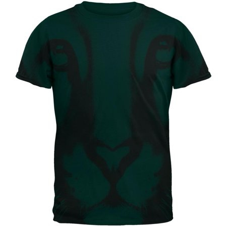 Cougars Green - Mountain Lion Cougar Ghost Face All Over Forest Green Adult T-Shirt