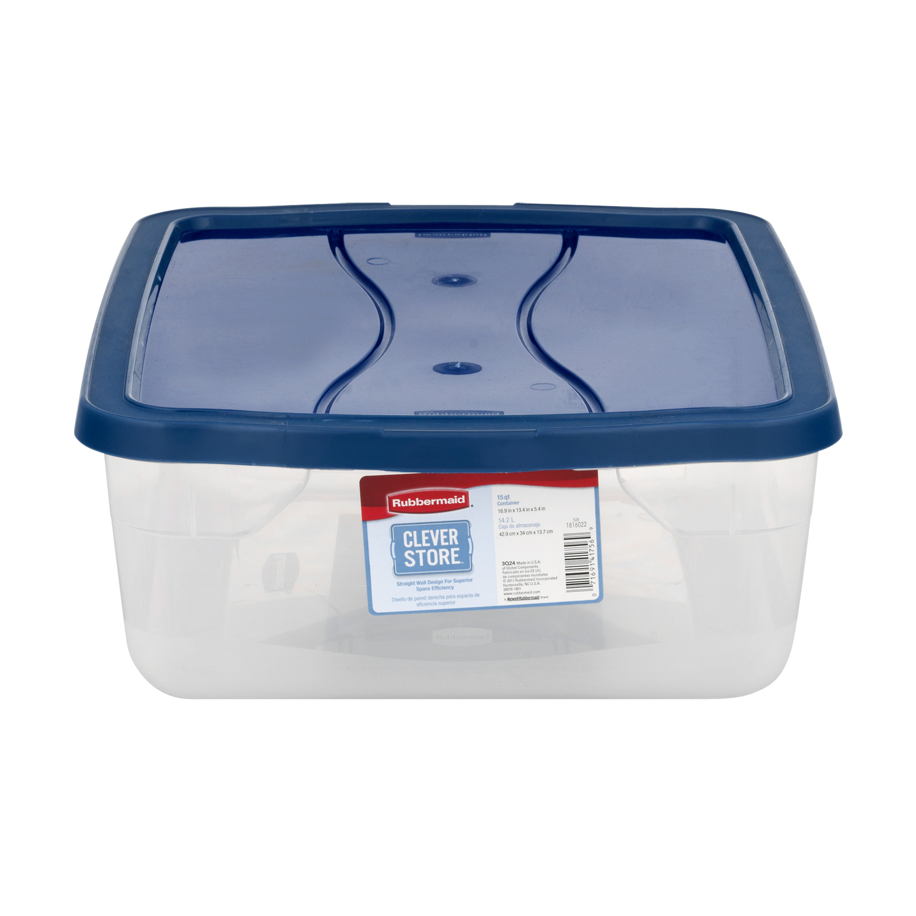 Rubbermaid Clever Store Clears Storage Container, 15 qt, Clear with Blue Lid