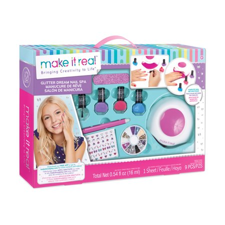 Glitter Dream Nail Spa Salon Kit, Kids Nail Polish and Manicure Set