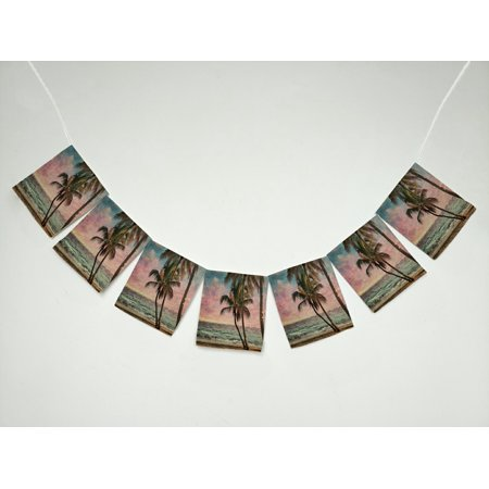 GCKG Seascape Tropical Beach Palm Tree Artwork Banner Bunting Garland Flag Sign for Home Family Party Decoration ()