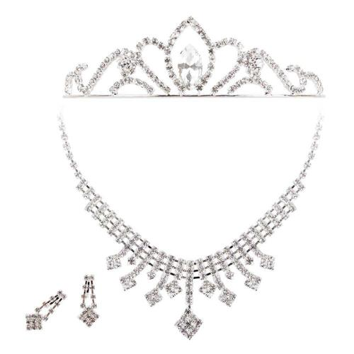BMC 3pc Rhinestone Wedding Necklace Earring Tiara Pageant Jewelry Set - Style 4
