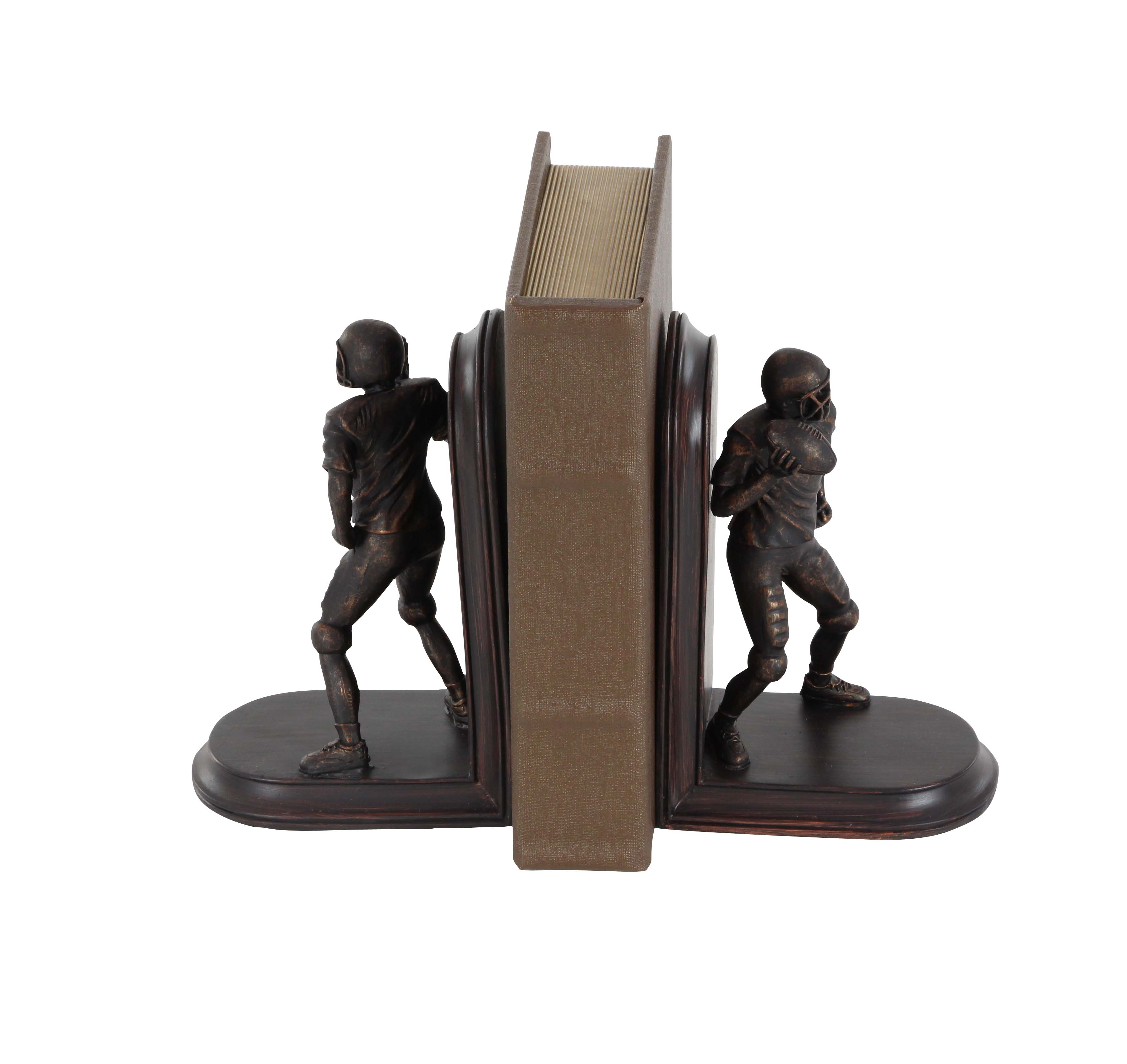 Decmode Pair of Eclectic 8 X 5 Inch Polystone Football Player Bookends, Brown