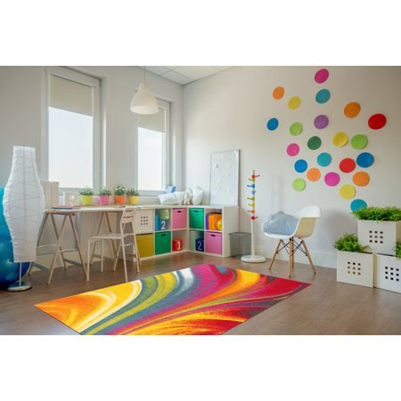 Modern Contemporary Waves Multicolor Non-slip Non-skid Area Rug or Runner