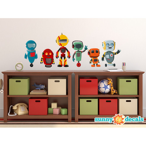Sunny Decals Cute Robot Fabric Wall Decal