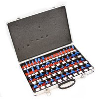"""1/4"""" Shank Tungsten Carbide-Tipped Woodworking Router Bits Tool Set with Case, 50PC"""