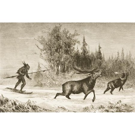 Posterazzi DPI1839505 Moose Hunting In The North Western Territory In 1870S From American Pictures Drawn with Pen & Pencil by Rev Samuel Manning Circa 1880 Poster Print, 17 x (Moose Hunting Pictures)
