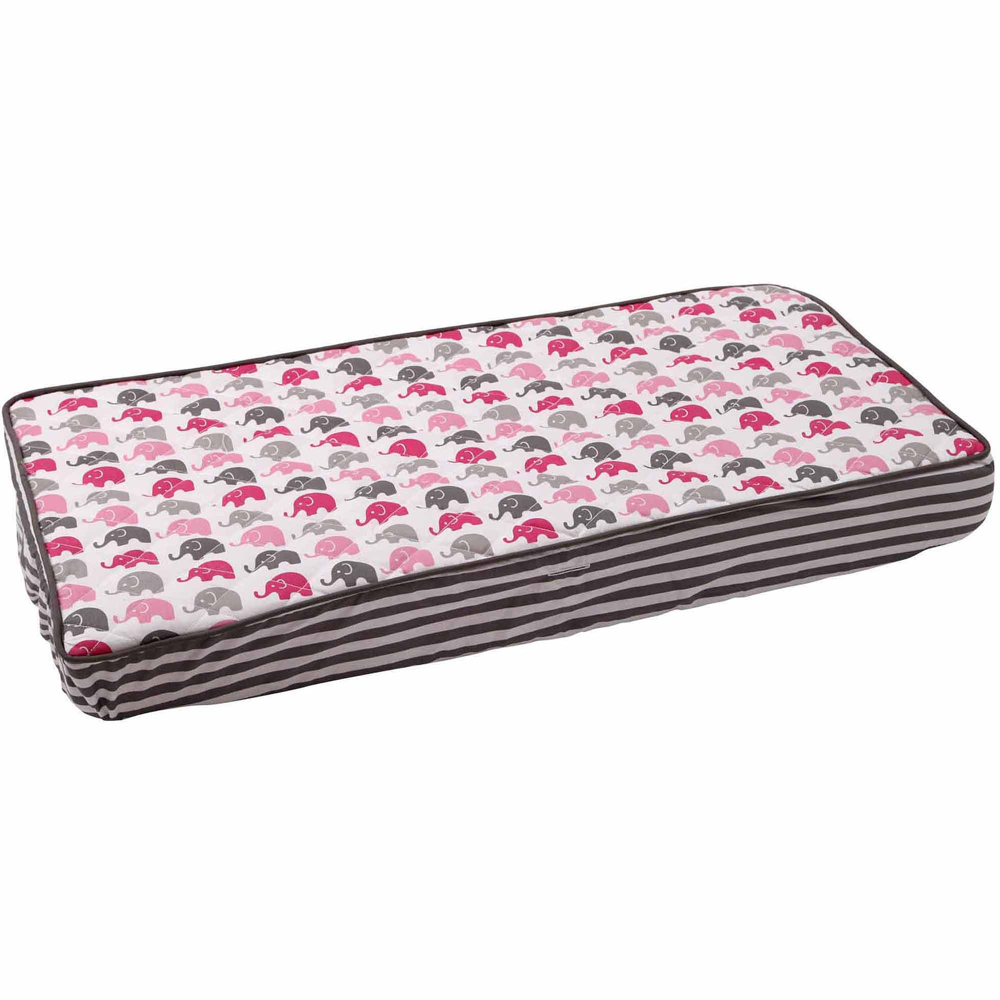 Bacati Elephants Mini Bacati Elephants Changing Pad Cover, Pink/Gray