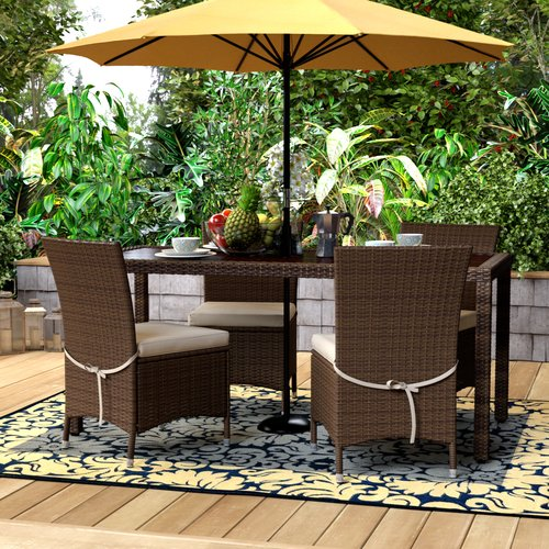 Ivy Bronx Sarver 5 Piece Dining Set with Cushions