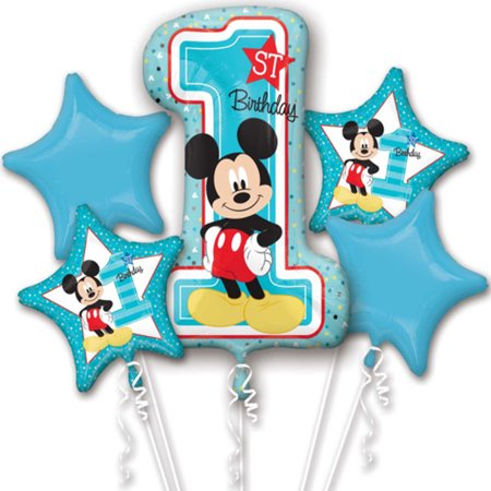 mickey mouse first birthday authentic licensed theme foil balloon bouquet (Mickey Mouse Party Theme Decorations)
