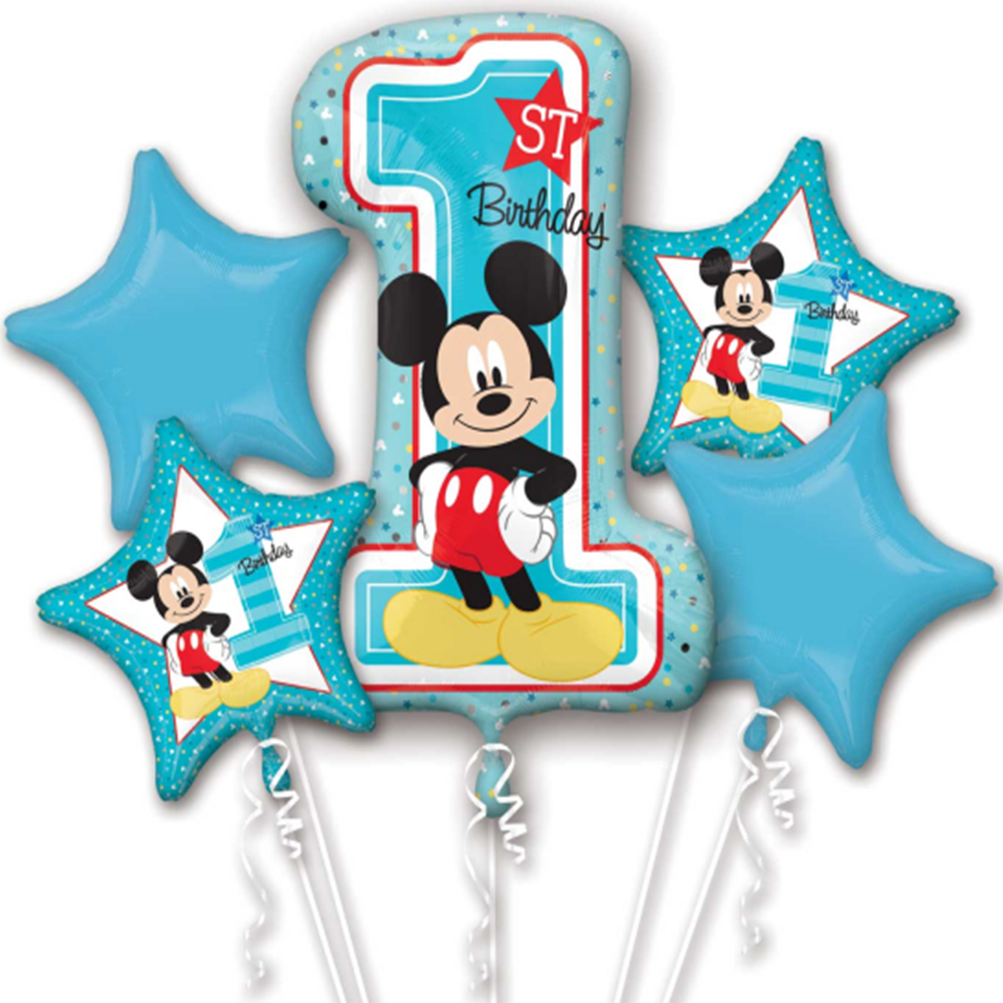 mickey mouse first birthday authentic licensed theme foil balloon bouquet