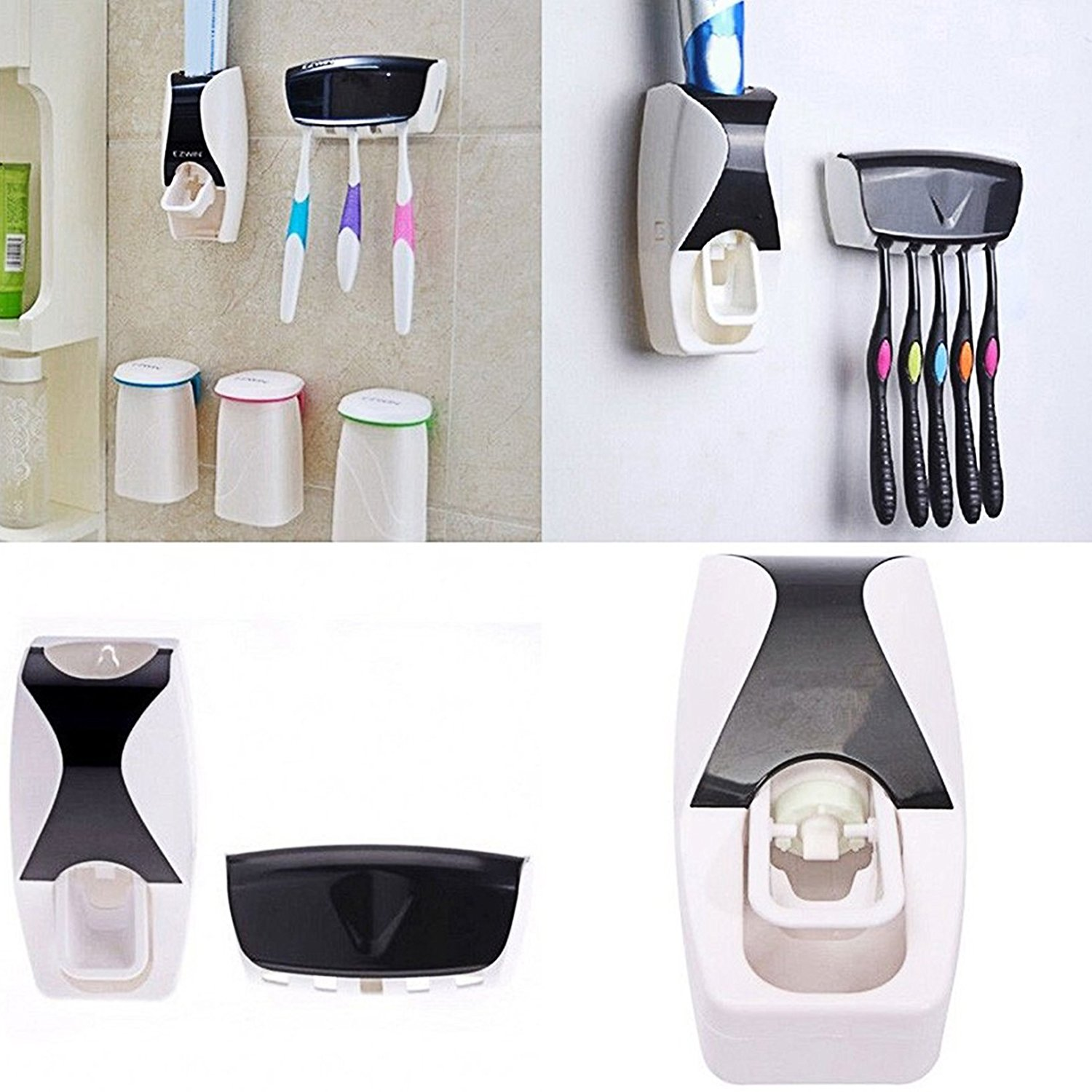 Automatic Toothpaste Dispenser Toothbrush Holder Set Wall Mount Stand Bathroom Accessories Home Decor