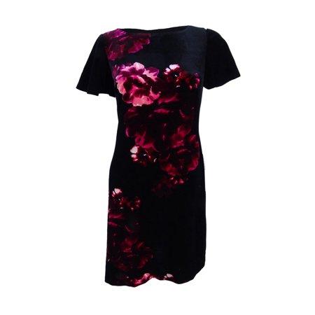 American Living Black Multi Short-Sleeve Floral-Print Velvet Sheath Dress 2 ()