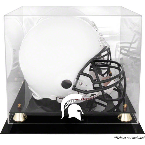 NCAA - Michigan State Spartans Golden Classic Team Logo Helmet Display Case with Mirrored Back