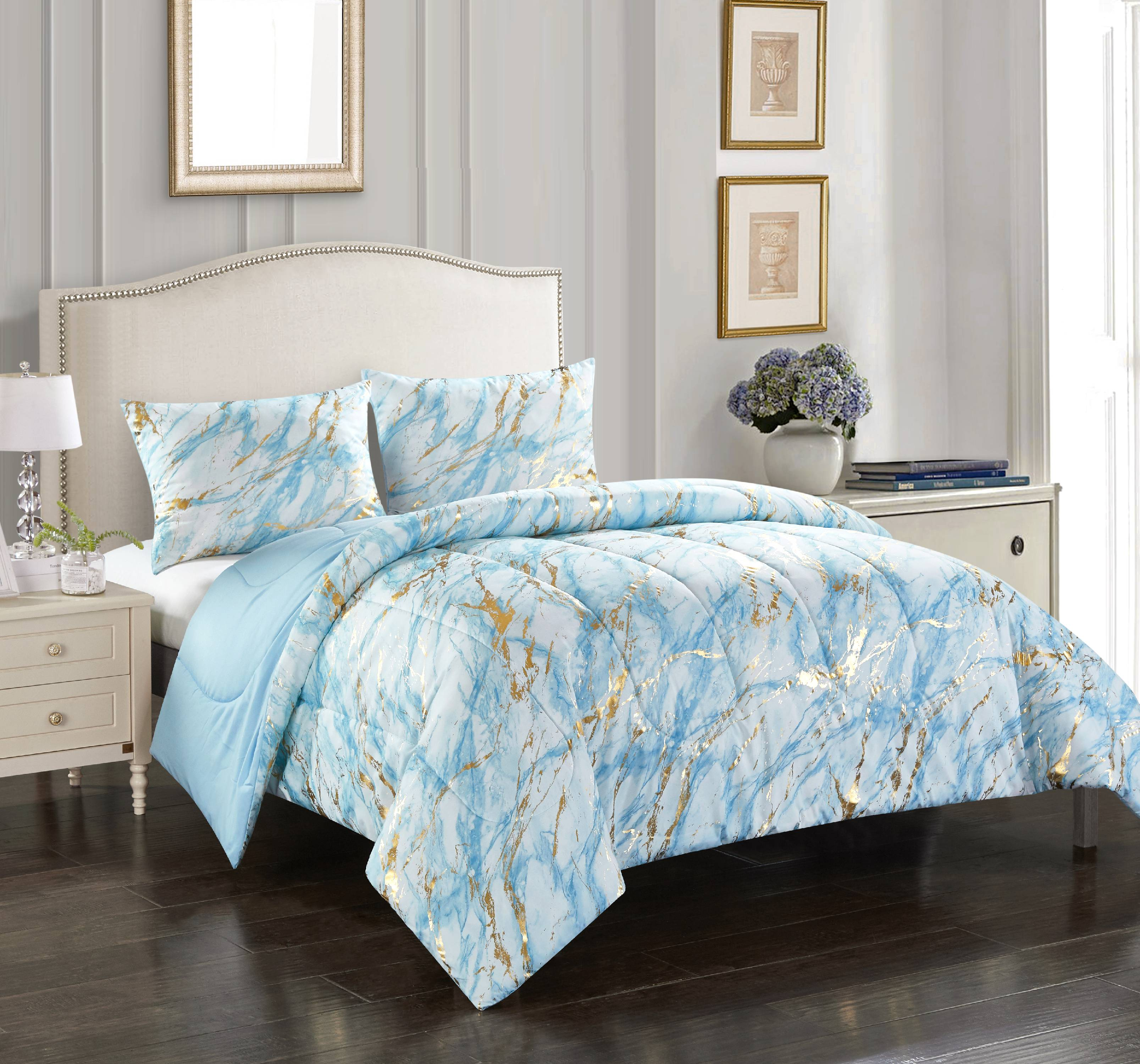Your Zone Metallic Marble Comforter Set