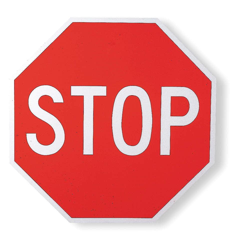 "Text Stop,  Diamond Grade Aluminum Traffic Sign,  Height 12"",  Width 12"""