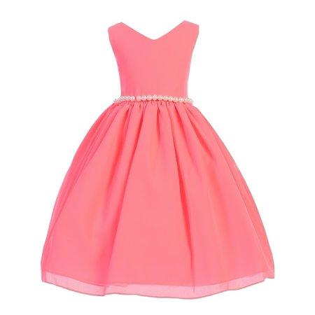 Waisted Wool - Girls Neon Pink Wool Dobby V-neck Pearl Waist Junior Bridesmaid Dress