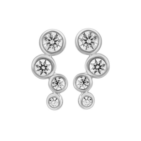 Journey White Natural Diamond Earring In Bubble Drop Style Earrings In 14K Solid White Gold (0.38 -