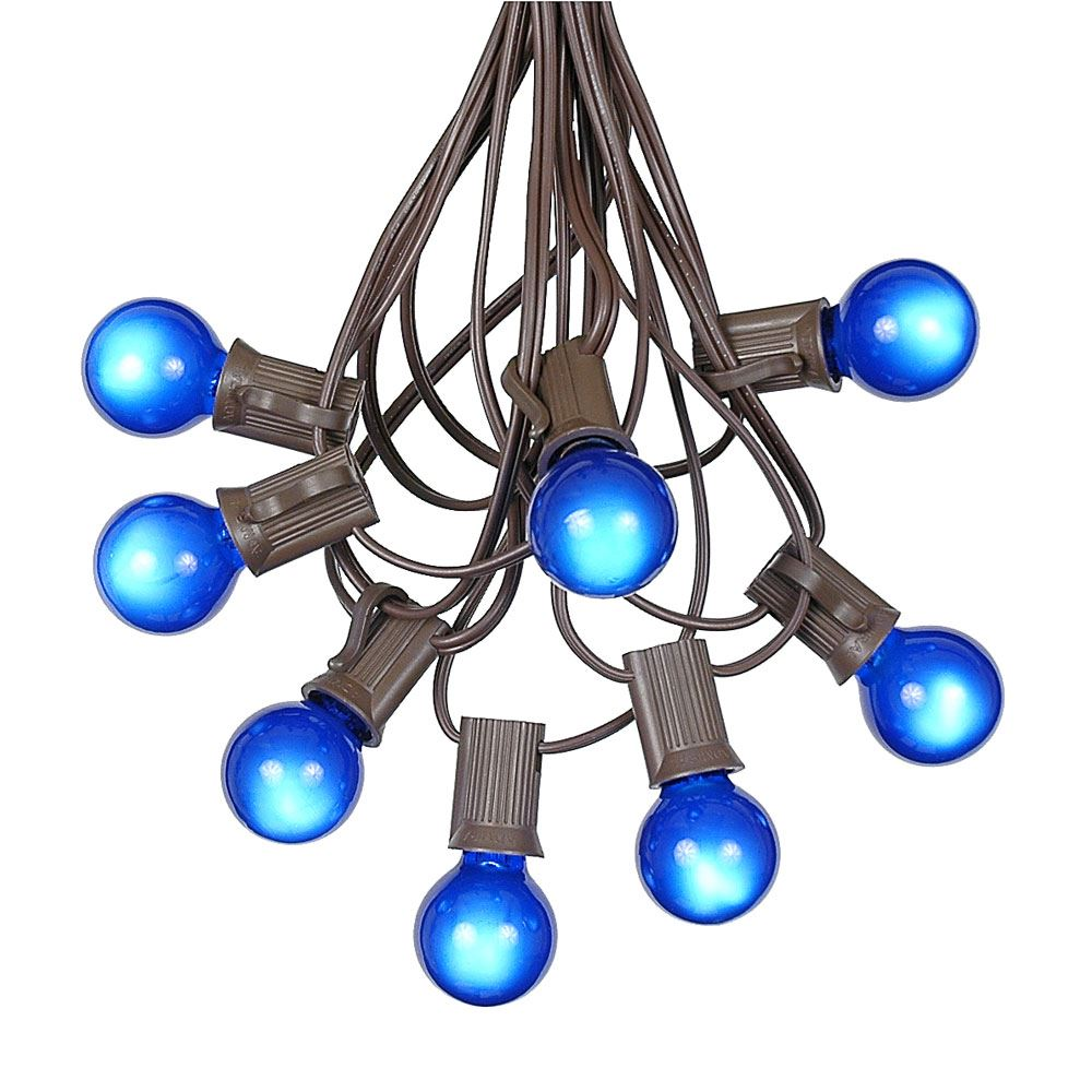 g30 patio string lights with 25 globe bulbs - garden hanging string lights - vintage backyard patio lights - outdoor string lights - market cafe bistro string lights brown wire -25 feet