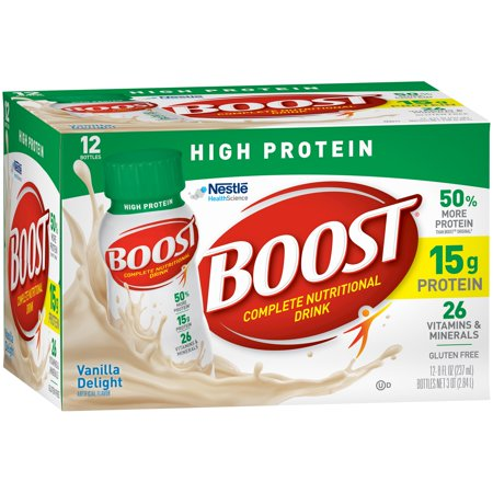 Boost High Protein Complete Nutritional Drink  Vanilla Delight  8 Fl Oz Bottle  12 Pack