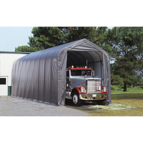 Click here to buy 14' x 20' x 12' Peak Style Shelter, Gray by ShelterLogic.
