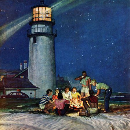Marmont Hill Beach Bonfire by Mead Schaeffer Painting Print on Wrapped - Beach Bonfire Ideas