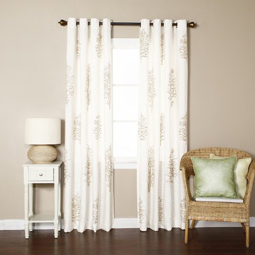 Best Home Fashion, Inc. Tree Embroidered Faux Linen Nature/Floral Semi-Sheer Grommet Curtain Panels (Set of 2)