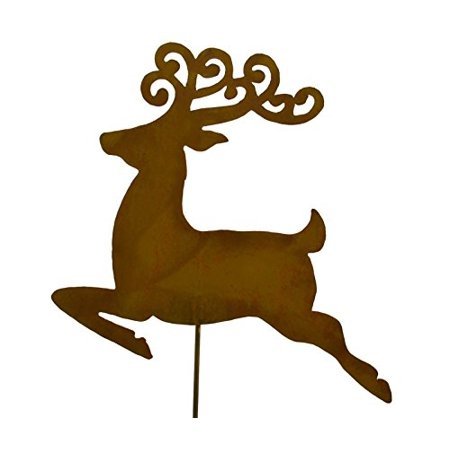 reindeer rustic metal yard stake whimsical christmas decoration idea handcrafted by oregardenworks in the - Metal Reindeer Christmas Decorations
