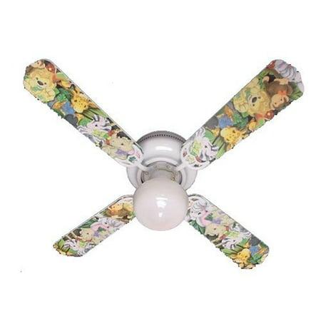 Ceiling Fan Designers Ceiling Fan, Zootles Baby Animals Jungle, 42'