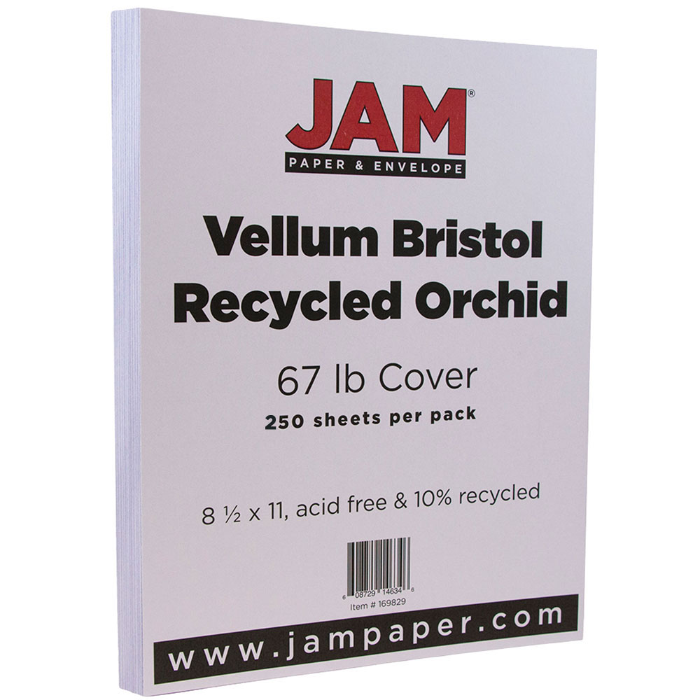 JAM Paper Vellum Bristol Cardstock, 8.5 x 11, 67 lb Orchid Light Purple, 250 Sheets/Pack