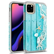 iPhone 11 Case, Kaesar Slim Hybrid Dual Layer Shockproof Hard Cover Graphic Fashion Cute Colorful Silicone Skin Cover Armor Case for iPhone 11 (Starfish)