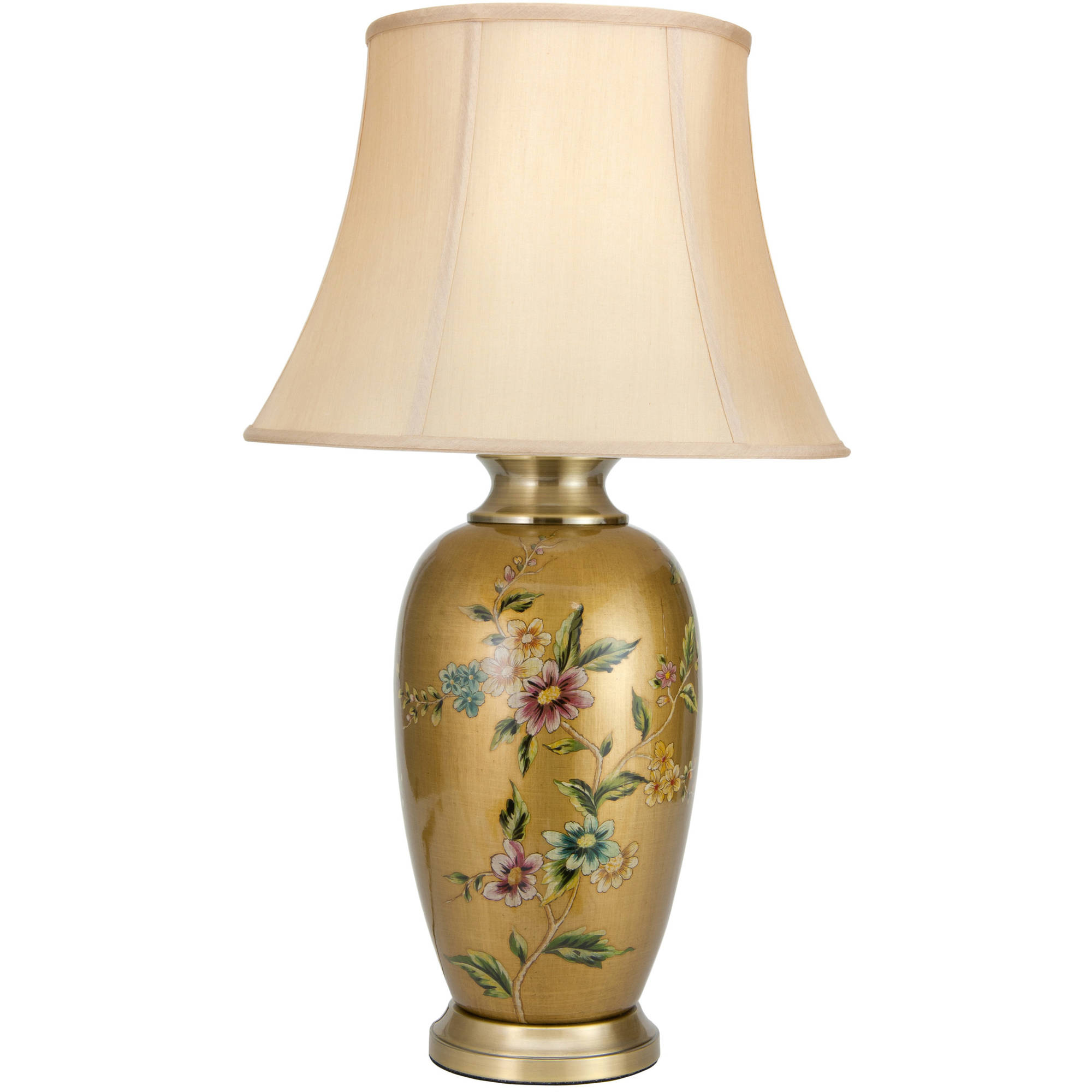 "27"" Flowers on Pale Gold Porcelain Vase Lamp by Oriental Furniture"