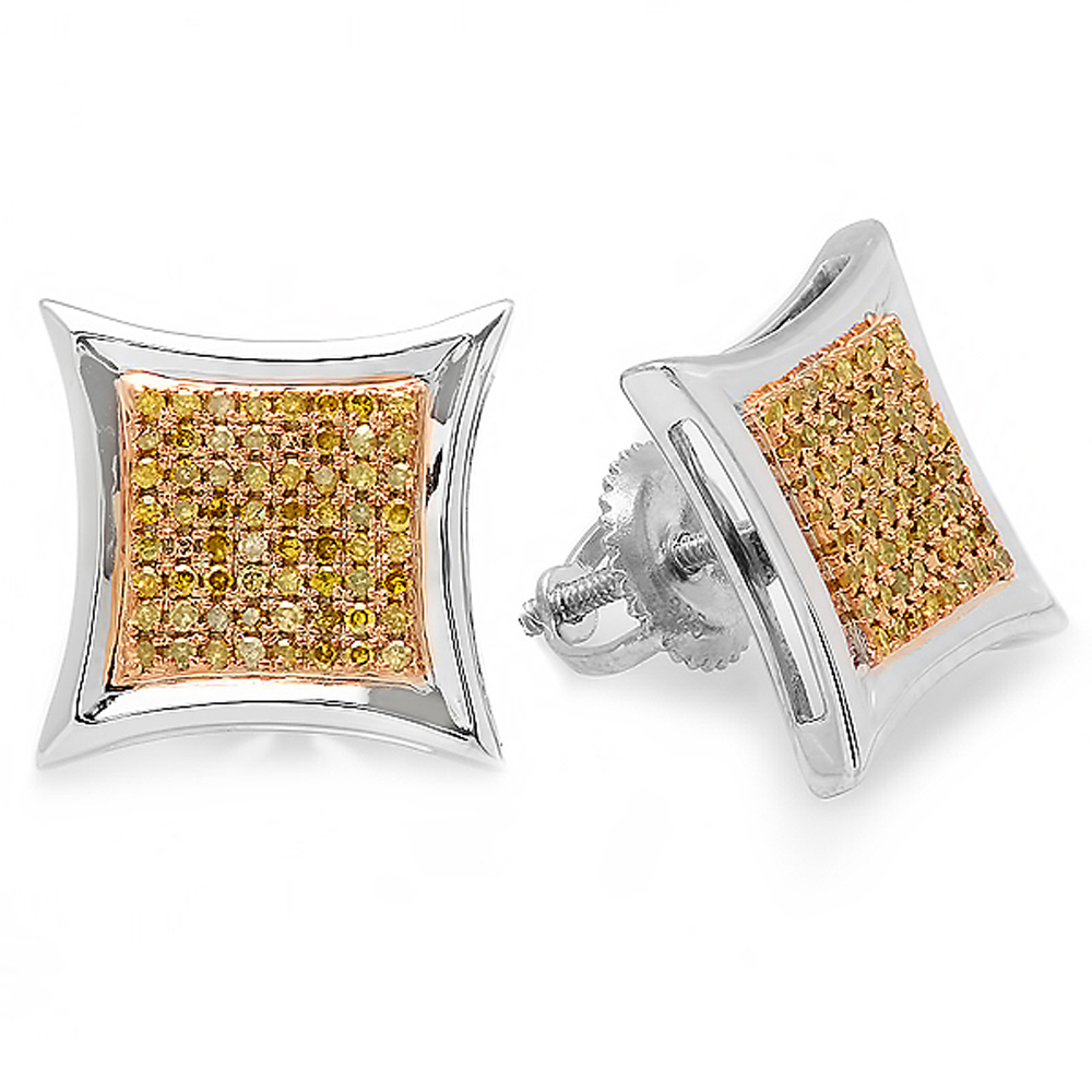 0.38 Carat (ctw) Yellow Round Diamond Micro Pave Setting Kite Shape Stud Earrings