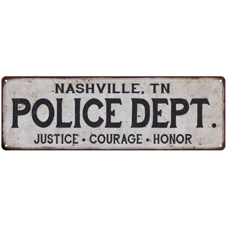 NASHVILLE, TN POLICE DEPT. Vintage Look Metal Sign Chic Decor Retro (Department Stores In Nashville)