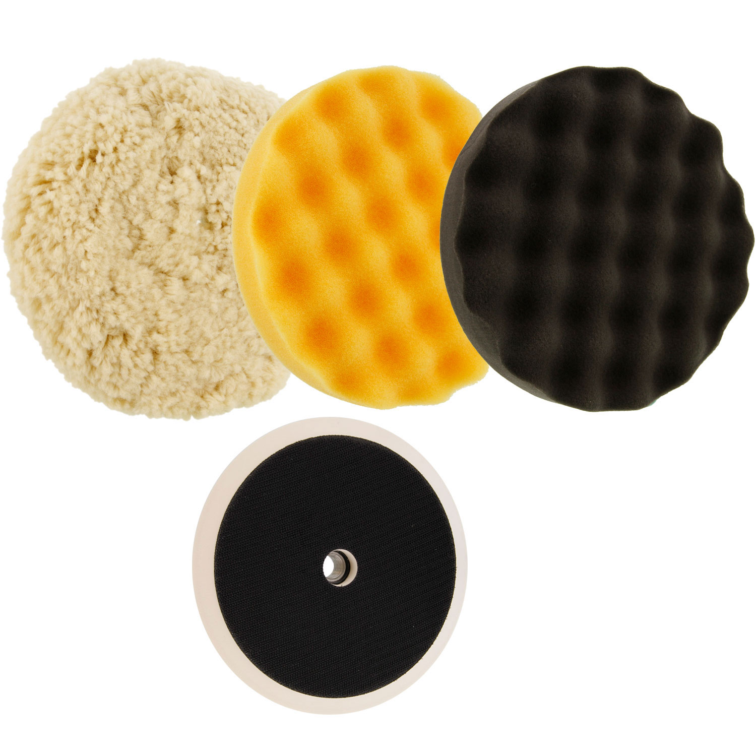 "Waffle Foam & Wool Buffing & Polishing Pad Kit w/ 3 - 8"" Pads Grip Backing Plate"