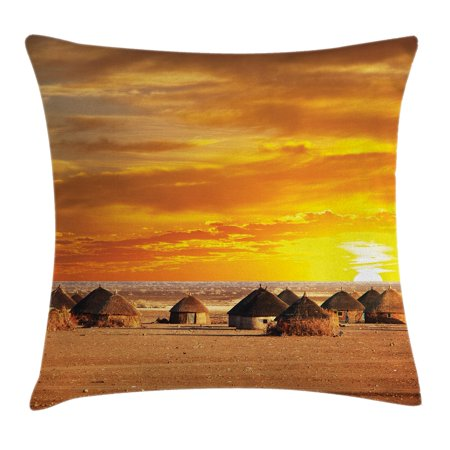 Farm House Decor Throw Pillow Cushion Cover, African Landscape of a Small Town with Horizon Skyline at Dawn Ethiopian Photo, Decorative Square Accent Pillow Case, 24 X 24 Inches, Orange, by Ambesonne