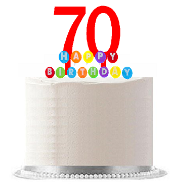 Item#070WCD - Happy 70th Birthday Party Red Cake Topper & Rainbow Candle Stand Elegant Cake Decoration Topper Kit