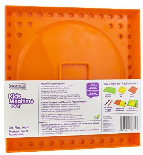 Placematix Kids Mealtime Set - Eat, Play, and Learn - Innovative and Reliable Design - Safe and Non-Toxic - Microwave and Dishwasher Safe - Includes Yellow Bowl, Purple Spoon, Red Fork, and Orange Pla
