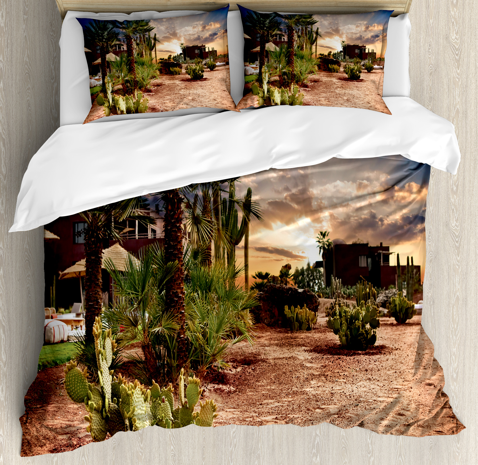 Desert Queen Size Duvet Cover Set, Majestic Sky View Palm Trees and Cactus in Oasis Morocco Tropic Nature, Decorative 3 Piece Bedding Set with 2 Pillow Shams, Blue Green Pale Brown, by Ambesonne