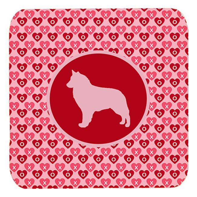 Belgian Sheepdog Valentine Hearts Foam Coasters - Set 4, 3.5 x 3.5 In. - image 1 of 1