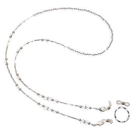 White Crystal Beaded Eyeglass holder, comes with a ring and extra rubber - Bead Holder