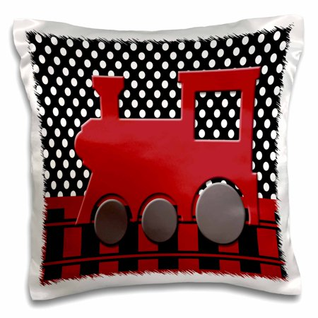 3dRose Red Train Engine on a Black Polka dot Background with Railroad, Pillow Case, 16 by 16-inch (Polka Dots Background)