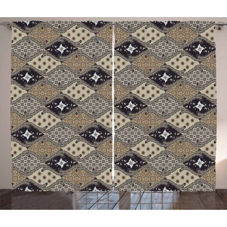 Asian Curtains 2 Panels Set, Indonesian Javanese Style Batik Pattern Wavy and Floral Design Old Fashioned Tile, Window Drapes for Living Room Bedroom, 108W X 90L Inches, Tan Black, by Ambesonne ()