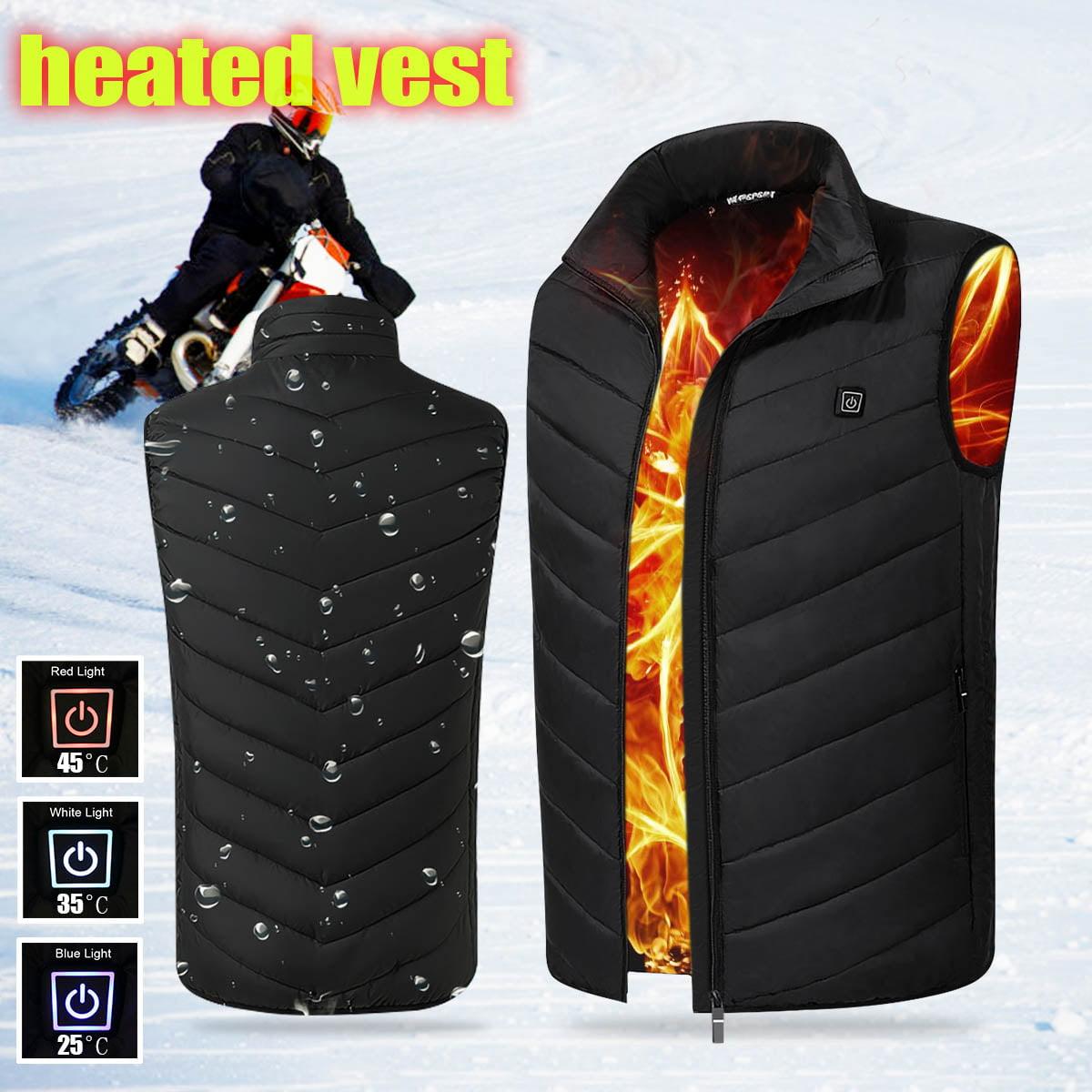 Mens Intelligent Heating USB Sleeveless Vest Winter Heated Jacket Outerwear Workwear Motorcycle Warm Warmer Full Zipper Coats Breathable Wind Resistant Coat Three Modes Washable