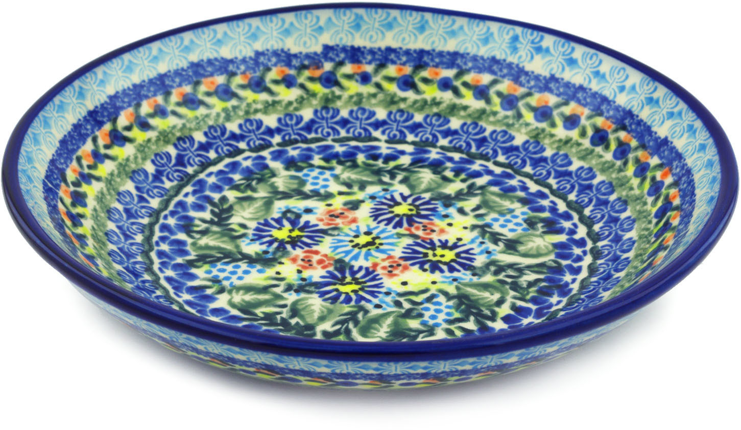 Polish Pottery 8�-inch Pasta Bowl (Flor-de-lis Theme) Hand Painted in Boleslawiec, Poland + Certificate of... by Ceramika Bona