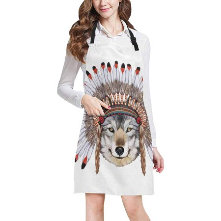 ASHLEIGH Hippie Portrait of Wolf in War Bonnet Chef Kitchen Apron, Adjustable Strap Waist Ties, Front Pockets, Perfect for Cooking, Baking, Barbequing (Bonnet Apron)