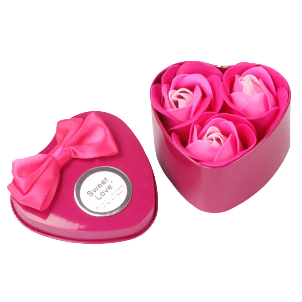 Mosunx 3Pcs Heart Scented Bath Body Petal Rose Flower Soap Wedding Decoration Gift HOT