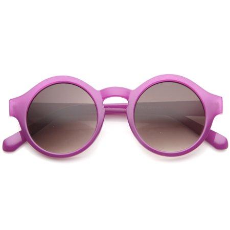 70s Fashion Jewelry (sunglassLA - Retro 70s Fashion Pastel Color Horn Rimmed Round Sunglasses (Purple / Lavender) -)
