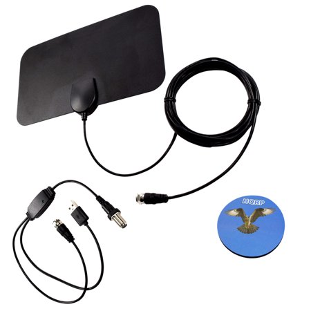 HQRP HDTV Amplified 4K 1080p 35-50 miles antenna for Vizio D32-D1 / D32F-E1 / D39h-D0 / D40-D1 / D40f-E1 / D40F-F1 / D43F-E2 / D43n-E1 / D48-D0 / D48F-E0 / D50f-E1 / D55-D2 + HQRP Coaster (Vizio Tv Antenna)